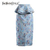 Twotwinstyle Baskı Çiçek Patchwork Fırfır Etek Kadınlar Için Yüksek Bel Bölünmüş Hit Renk Bodycon Etekler Kadın Moda Stil 210428