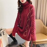 Women's Sweaters Pullovers Turtleneck Wine Red Autumn Winter Warm Twisted Knit Ladies Loose Vintage Year