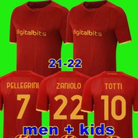 Jersey de futebol Zaniolo Roma Dzeko Pastore Roma Totti Kluivert Pastore como 21 22 Camisa de Futebol 2021 2022 Men + Kit Kit uniformes Maillot El Shaarawy Florenzi Pellegrini T