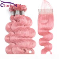 Pink Raw Virgin Indian Body Wave Hair Weave 3 Bundles With Lace Closure Colored Pink Human Hair Top Closures And Wavy Extensions 4pcs Deals
