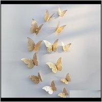 Mıknatıslar 12 adet 3D Hollow Kelebek Duvar Sticker Ev DIY Kelebekler Için Buzdolabı Çıkartmalar Odası Dekorasyon Parti Düğün Dekor MSZRN NA6XG