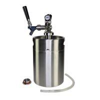Bar Tools Pressurized Growler Tap System - Stainless Steel Mini Keg Dispenser Portable Kit Co2 Pressure Regulator Keeps Carbonation for Craft Beer
