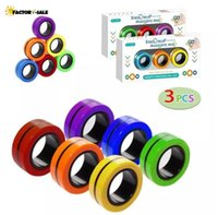 US Stock 3pc set Fidget Toys Magnetic Bracelet Ring Unzip Toy Magic Ring Props Tools Decompression Magnet Rings FA13