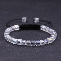 Beaded, Strands Fashion Charm Transparent Handmade Square Crystal Bead Bracelet Men And Women Adjustable Braided Rope