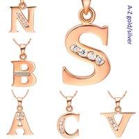 الأزياء والمجوهرات حرف a b c d e f g h i j k l m n o p q s t u v w x y z rose ذهبي اللون قلادة للنساء قلادة القلائد