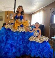 2022 Princess Royal Blue Quinceanera Dresses ruffles skirt gold detail lace-up corset Spaghetti Sweet 15 16 Prom Dress