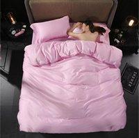Set di biancheria da letto Principessa Copriletti Beds Letto Set rosa Egitto Cotone El King Queen Size 4PC Breve foglio di copertura del piumino a colori solido