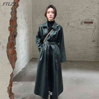 FTLZZ Spring Women PU Leather Long Jacket Faux Windbreaker Trench Coat Turn-down Collar Button with Belt 210915