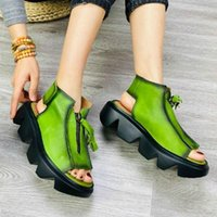 Green Platform Gladiator Sandals Women Genuine Leather Shoes 2021 Summer Retro Zip Casual Wedges Candy Color Ladies