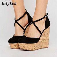 Eilyken تصميم ماركة مثير منصة أسافين عالية الكعب أحذية صنادل امرأة سترو الصيف حزب الكاحل التفاف امرأة 210619