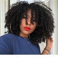 Perruques de cheveux humains Cheveux courts avec franges Cheveux Cheveux Naturels Frange Humains Femme Non Dentelle Perruque Brésilienne Kinky Curly Humain Perruque
