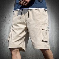 Men's Shorts Mens Summer Cargo Fashion Knee Length Drawstring Men Cotton Khaki Work Bermudas Masculina Plus Size 7XL