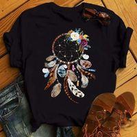 المرأة t-shirt zogankin ريشة dreamcatcher المطبوعة س الرقبة قصيرة الأكمام قمم المرأة عارضة المتناثرة الأزياء الأسود الصيف المنزل تي شيرت