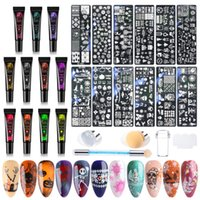 Nail Art Kits Merry Christmas Stamping Gel Plates Manicure Set Neon Nails Transfer Polish Silicone Stamper Winter Tools Kit BE1916-2