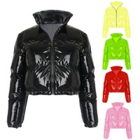 Women Winter Long Sleeve Zipper Puffer Jacket Stand Collar Shiny Metallic Faux Leather Cropped Puffy Bubble Coats Quilted Parkas