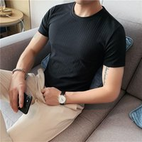 Мужские футболки 2021 летние V шеи вязаные мужчины одежда стройная подходит повседневная с коротким рукавом футболка Homme Streetwear letewear a25