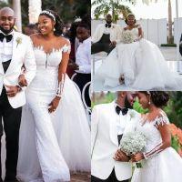 2022 Designer Mermaid Wedding Dresses Chapel Bridal Gown Overskirt Jewel Neck with Long Sleeves Pleats Ruched Custom Made vestido de novia