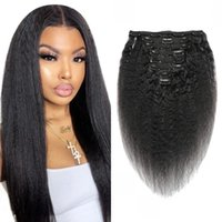 Clip in Human Hair Extensions Kinky Straight Natural Black Color 8-20 inch 8PCS 18Clips  Set 120gram Indian Clip-Ins