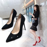 Dress Shoes 2021 Spring And Autumn Fashion Sequins High Heels Korean Version Of The Wild Pointed Shallow Mouth Banquet Wedding