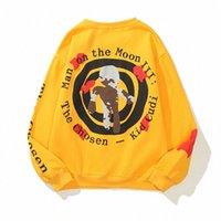 Пара женские мужские толстовки толстовки толстовки Weater Kanye западная буква напечатанные женщины мужчины круглые шеи пуловер желтый женский мужской носить длинную свободную повседневную летучую мышь SL Z8YF #