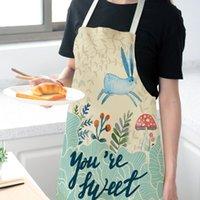 Tablier sans manches de coton et draps 33Systyle Cuisine Nordic Eashable Strap à la main Tablier pour adulte Belle lapin Design Outils de salle à manger T2I52086
