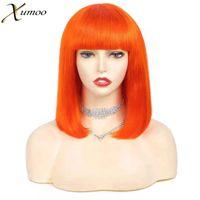 Lace Wigs XUMOO 13x4 Front Wig Straight Orange Cosplay Short Bob Cut With Bangs Cuticle Aligned Remy Braizlian Human Hair