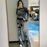 Женские трексуиты с капюшоном свитер наборы с длинными рукавами вязаные и брюки с буквами животных узор для леди тонкий костюм костюм шерстяных свитера размера S-XL