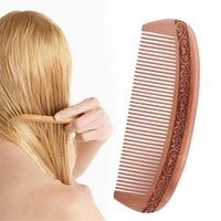Hair Brushes Wood No-static Massage Mahogany Comb Natural Wide Tooth Peach Head Care Levert