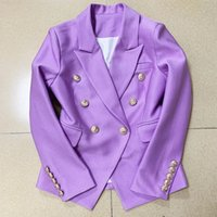 High- quality double- breasted lion button blazer
