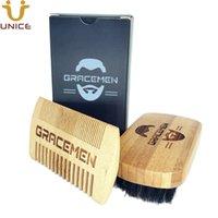 MOQ 100 set OEM Personalizza logo Eco-friendly Bamboo Capelli facciali / Barba Kit Grooming con scatola personalizzata per uomo BARDS Brush Dual Sided Pettine