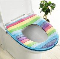 Neue Toilette Sitzbezug Pads Weiche Verdicken Wärmer Regenbogen Korallen Samt Warme Toilette Sitz Ring Abdeckung Kissen Pads Badezimmer WC Dekoration EWD
