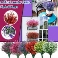 8 Demetleri UV Dayanıklı Sahte Lavanta Plastik Yapay Çiçekler Ev Yeşillik Kapalı Dış Bahçe Yard Düğün Dekor