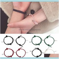 Bracelets Jewelry2Pcs Couple Bracelet Magnetic Key Lock Attraction Creative Friendship Rope Men And Women Jewelry Gift Charm Drop Delivery 2