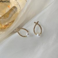 패션 지르콘 크로스 물고기 귀걸이 여성을위한 간단하고 귀여운 모조 진주 기하학적 귀걸이 보석 스터드