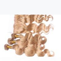 Медовая белокурые ухо до уха кружева лобное закрытие 13x4 с пучками кузовной волны # 27 клубника блондинка малайзийских волос ткани с фронтальным