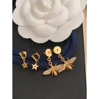 Шпильки дизайнеры Серьги Мода Ювелирные Изделия 2021 Золотой Стад комплект Классический D Питовый бренд для Женщин Мужчин Жемчужина Свадьба Люксы Подарок 21041902XS