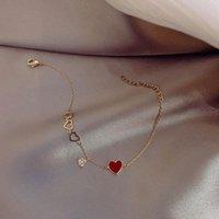 Charm Bracelets Women's Bracelet Love Heart Pendant Stained Wrist Chain Adjustable Length Thin Elegant Jewelry Gift For Girls BN