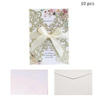 Greeting Cards 10pcs Wedding Invitation Card Glitter Paper Laser Cut Personalized With Ribbon Birthday Party Decoration