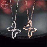 Aazuo 18K 로즈 골드 진짜 다이아몬드 IJ SI1 나비 무료 펜던트 목걸이 여성을위한 영재 웨딩 링크 체인 AU750 체인