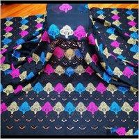 Kleidung Kleidung Hohe Qualität Afrikanische Net Swiss Voile Punch Stickerei Weiß 100Prente Baumwollspitze Stoff für Hochzeitskleid 7 yards dr