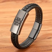 Charm Bracelets Lucky Clover Braided Wrap Rope Black Leather For Men Stainless Steel Magnetic Clasp High Quality Cubic Zirconia Bangle
