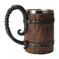 Mugs Wooden Barrel Beer Mug,Bucket Shaped Drinkware With Handle,Stainless Steel Double Wall Cocktail Mug For Bar Restaurant