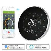 Smart Home Control WiFi Voz Caldera remota Termostato Retroiluminación 3A Semana programable LCD Pantalla táctil Trabajo con Alexa Google
