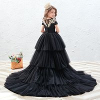 New Black Boho Flower Girl Dresses for Weddings Cheap Girl Pageant Gowns Lace and Chiffon Little Girls Beach Wedding Dresses 2021