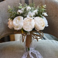 Wedding Flowers Country Holding Artificial Natural Rose Bouquet With Lace Pink White Champagne Bridesmaid Bridal Party