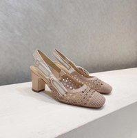 Sandales de broderie à motif de maille creux Sandales de broderie Exquise Chaussures élégantes Chaussures à talons hauts et respirants
