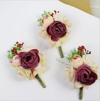 6pcs Lot DIY Artificial Wine Red Rose Corsage Groom Boutonniere Brooch Women Flower Bridal Flowers Wedding Party Decorative & Wreaths