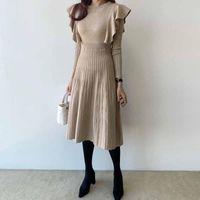 Casual Dresses One-Piece Women Sweater Dress Winter Korean Chic Elegant Pleated Knitted Lotus Sleeve 2021 Fashion Slim Belt Autumn