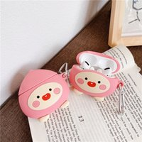 3D Peach Storage Case for TWS Apple Airpods2 Pro Wireless Headphone Cute Cartoon Pouch Bag with Keychain Hook Shockproof