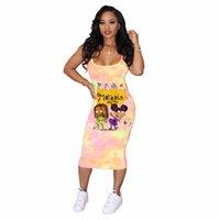 Casual fashion women's Dresses trend tie dye cartoon suspender skirt